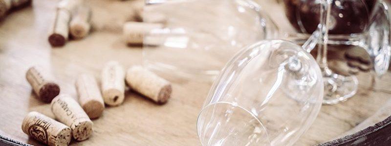 Soft focus on empty wine glass - Vintage filter